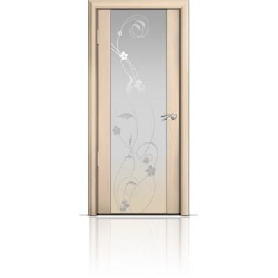 Межкомнатная Дверь Мильяна Омега-2 Беленый дуб триплекс белый Фиалка