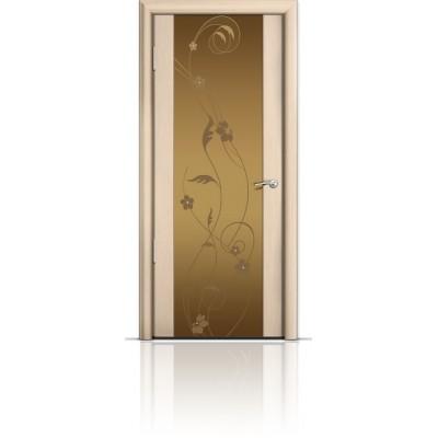Межкомнатная Дверь Мильяна Омега-2 Беленый дуб триплекс бронзовый Фиалка
