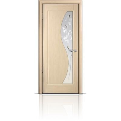 Межкомнатная Дверь Мильяна Элиза Беленый дуб стекло белое Элиза
