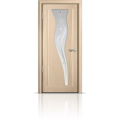 Межкомнатная Дверь Мильяна Лантана Беленый дуб стекло белое Лантана