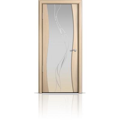 Межкомнатная Дверь Мильяна Омега Беленый дуб триплекс белый Иллюзия