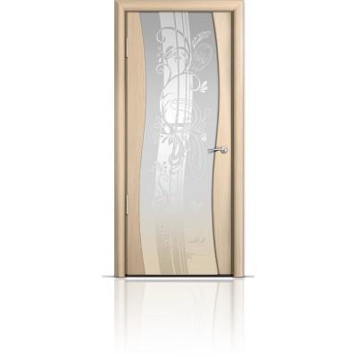 Межкомнатная Дверь Мильяна Омега Беленый дуб триплекс белый Мотив