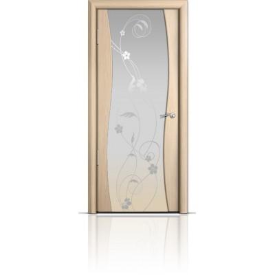 Межкомнатная Дверь Мильяна Омега Беленый дуб триплекс белый Фиалка