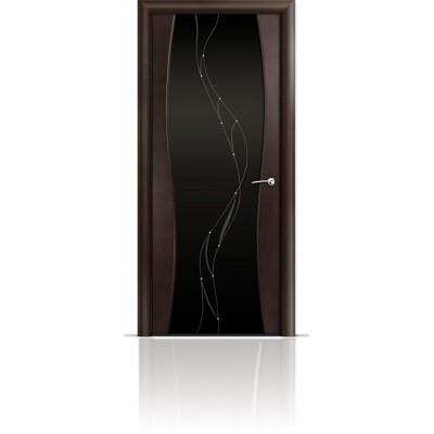 Межкомнатная Дверь Мильяна Омега-1 Венге триплекс черный Иллюзия