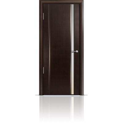 Межкомнатная Дверь Мильяна Омега-2 Венге триплекс узкий белый
