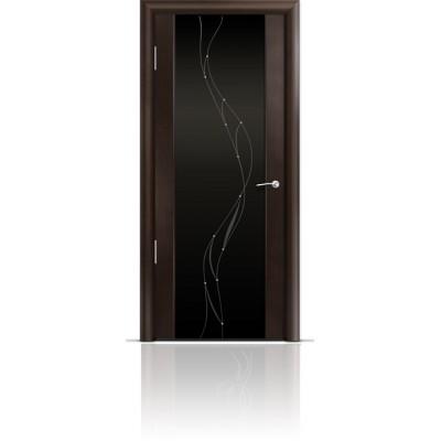 Межкомнатная Дверь Мильяна Омега-2 Венге триплекс черный Иллюзия