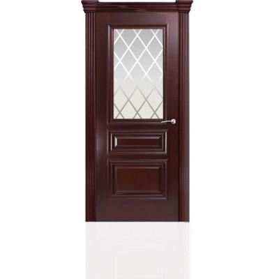 Межкомнатная Дверь Мильяна Бристоль Сити Красное дерево стекло Готика белое