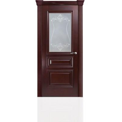 Межкомнатная Дверь Мильяна Бристоль Сити Красное дерево стекло Лициция белое
