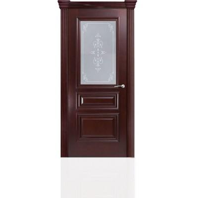 Межкомнатная Дверь Мильяна Бристоль Сити Красное дерево стекло Эстель белое
