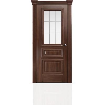Межкомнатная Дверь Мильяна Бристоль Сити Американский орех стекло Премиум белое