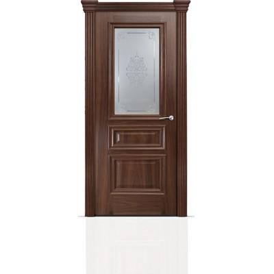 Межкомнатная Дверь Мильяна Бристоль Сити Американский орех стекло Кларис белое