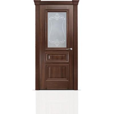 Межкомнатная Дверь Мильяна Бристоль Сити Американский орех стекло Лициция белое