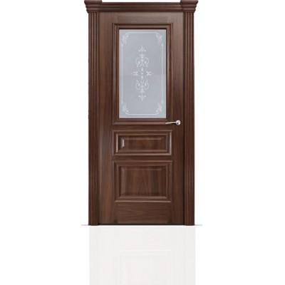 Межкомнатная Дверь Мильяна Бристоль Сити Американский орех стекло Эстель белое