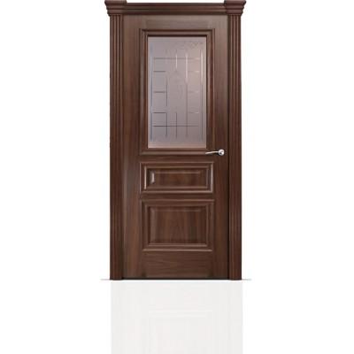 Межкомнатная Дверь Мильяна Бристоль Сити Американский орех стекло Византа бронза