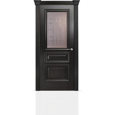 Межкомнатная Дверь Мильяна Бристоль Сити Ясень винтаж стекло Византа бронзовое