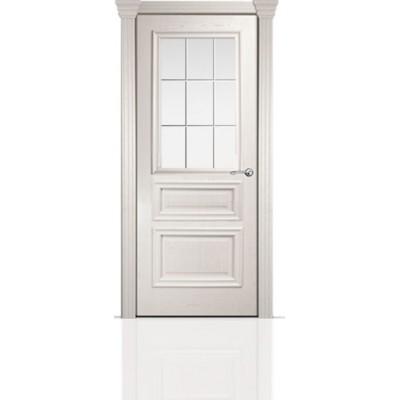 Межкомнатная Дверь Мильяна Бристоль Сити Ясень жемчуг стекло Премиум белое