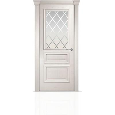 Межкомнатная Дверь Мильяна Бристоль Сити Ясень жемчуг стекло Готика белое