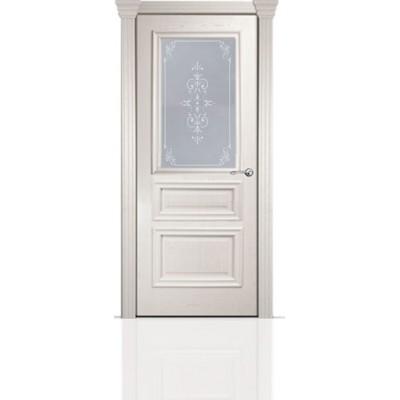 Межкомнатная Дверь Мильяна Бристоль Сити Ясень жемчуг стекло Эстель белое