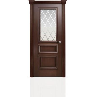 Межкомнатная Дверь Мильяна Бристоль Сити Итальянский орех стекло Готика белое