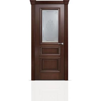 Межкомнатная Дверь Мильяна Бристоль Сити Итальянский орех стекло Кларис белое