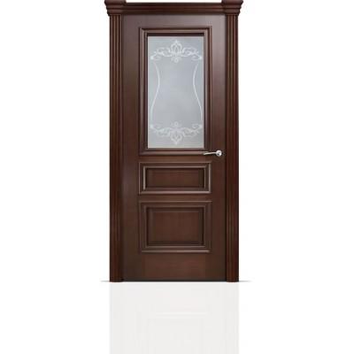 Межкомнатная Дверь Мильяна Бристоль Сити Итальянский орех стекло Лициция белое