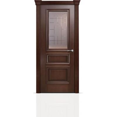 Межкомнатная Дверь Мильяна Бристоль Сити Итальянский орех стекло Византа бронзовое