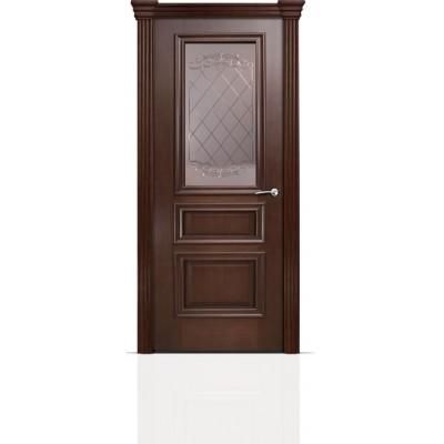 Межкомнатная Дверь Мильяна Бристоль Сити Итальянский орех стекло Арианда бронзовое
