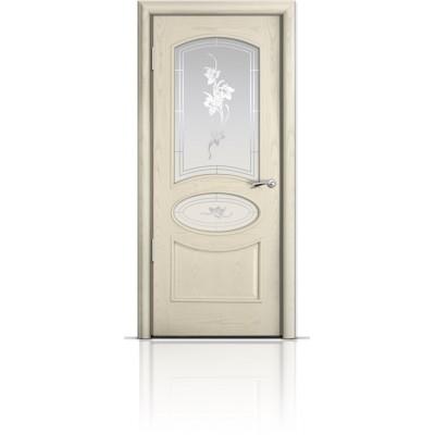 Межкомнатная Дверь Мильяна Рим Ясень жемчуг стекло Гранд