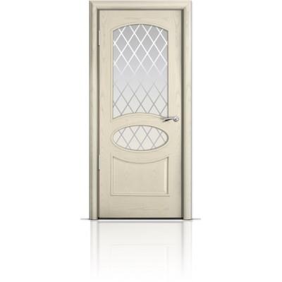Межкомнатная Дверь Мильяна Рим Ясень жемчуг стекло Готика