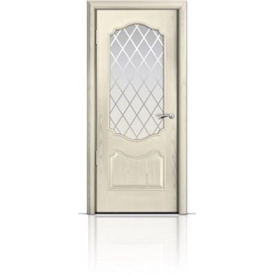 Межкомнатная Дверь Мильяна Милан Ясень жемчуг стекло Готика