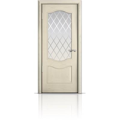 Межкомнатная Дверь Мильяна Марсель Ясень жемчуг стекло Готика