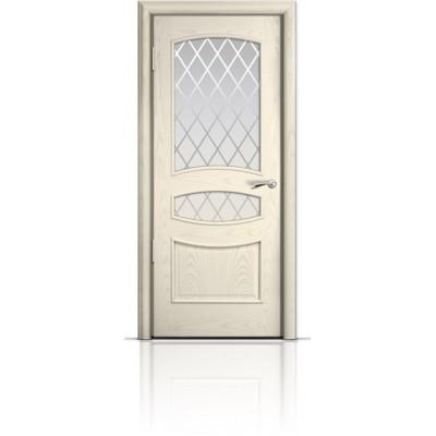 Межкомнатная Дверь Мильяна Венеция Ясень жемчуг стекло Готика