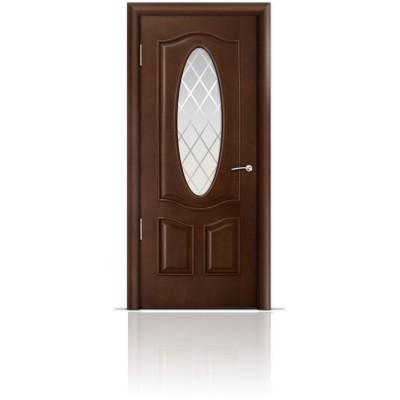 Межкомнатная Дверь Мильяна Барселона Итальянский орех стекло Готика
