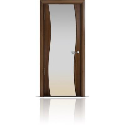 Межкомнатная Дверь Мильяна Омега Американский орех триплекс белый