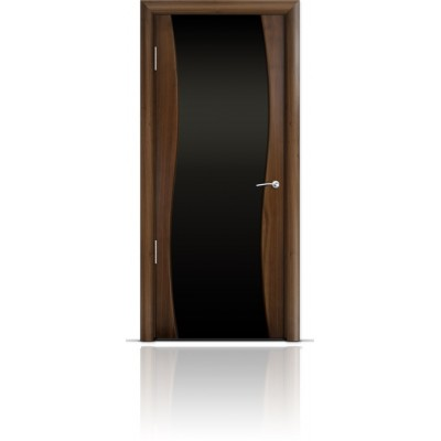 Межкомнатная Дверь Мильяна Омега Американский орех триплекс черный