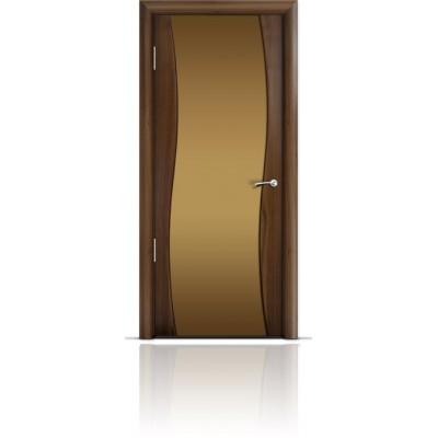 Межкомнатная Дверь Мильяна Омега Американский орех триплекс бронзовый