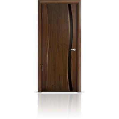 Межкомнатная Дверь Мильяна Омега Американский орех триплекс узкий черный