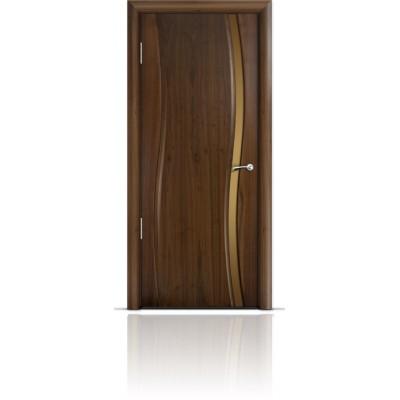 Межкомнатная Дверь Мильяна Омега Американский орех триплекс узкий бронзовый