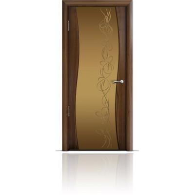 Межкомнатная Дверь Мильяна Омега Американский орех триплекс бронзовый Фантазия