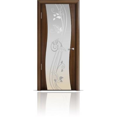 Межкомнатная Дверь Мильяна Омега Американский орех триплекс белый Нежность