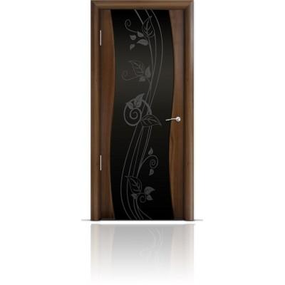 Межкомнатная Дверь Мильяна Омега Американский орех триплекс черный Нежность