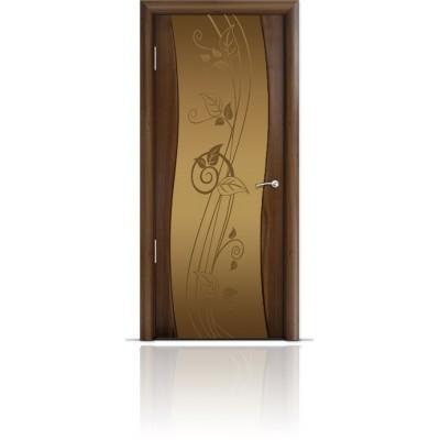 Межкомнатная Дверь Мильяна Омега Американский орех триплекс бронзовый Нежность