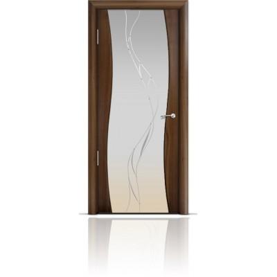 Межкомнатная Дверь Мильяна Омега Американский орех триплекс белый Иллюзия
