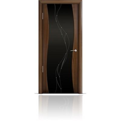 Межкомнатная Дверь Мильяна Омега Американский орех триплекс черный Иллюзия