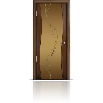 Межкомнатная Дверь Мильяна Омега Американский орех триплекс бронзовый Иллюзия