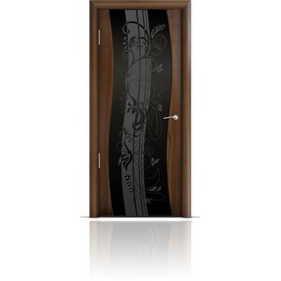 Межкомнатная Дверь Мильяна Омега Американский орех триплекс черный Мотив