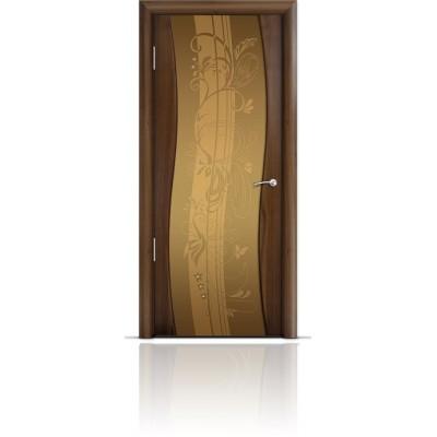 Межкомнатная Дверь Мильяна Омега Американский орех триплекс бронзовый Мотив