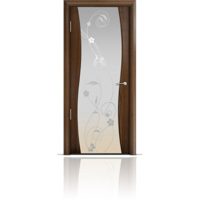 Межкомнатная Дверь Мильяна Омега Американский орех триплекс белый Фиалка