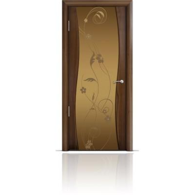 Межкомнатная Дверь Мильяна Омега Американский орех триплекс бронзовый Фиалка