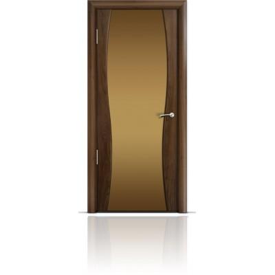Межкомнатная Дверь Мильяна Омега-1 Американский орех триплекс бронзовый